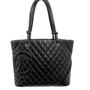 Auth Chanel Cambon Tote Large Black